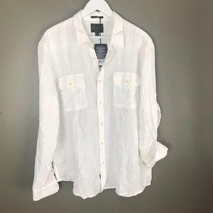 Lucky brand 100% linen button down shirt